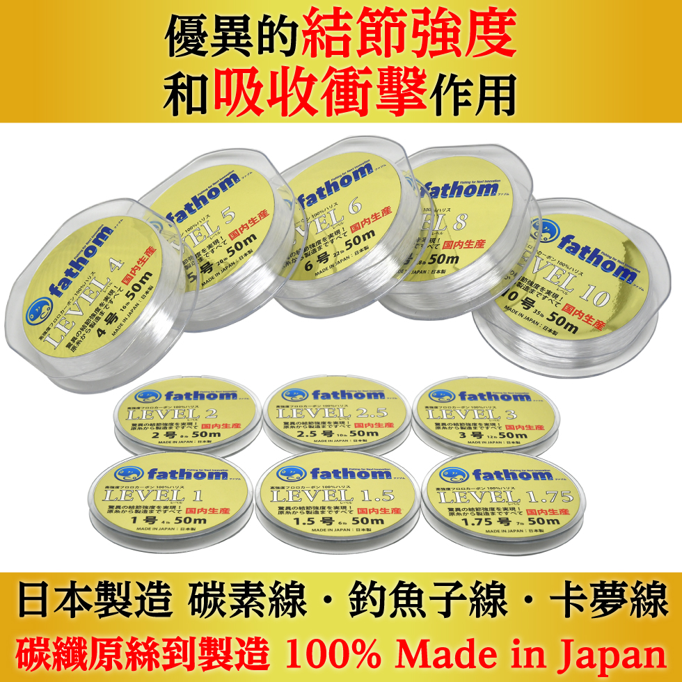 日本製造 碳素線・釣魚子線・卡夢線 碳纖原絲到製造 100% Made in Japan